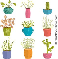 Set of green indoor plants in pots - Leaf and house...