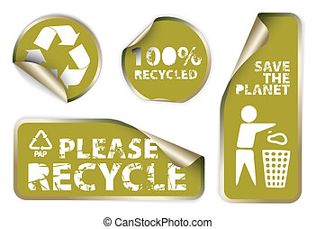 labels badges and stickers with recycle icons