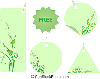 Set of green labels with swirl ornament with leaves