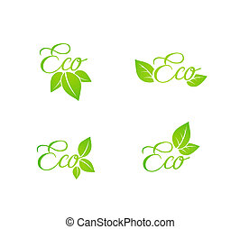 Set of green leaf eco concept icons