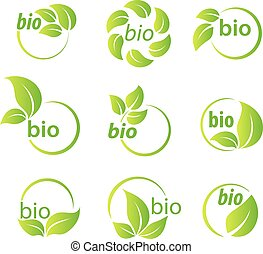 Set of green leaves bio symbol design elements