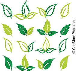 Set of green leaves Clip Art