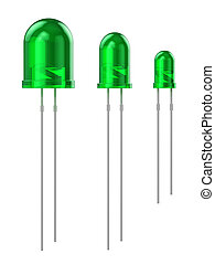 Set of green LEDs