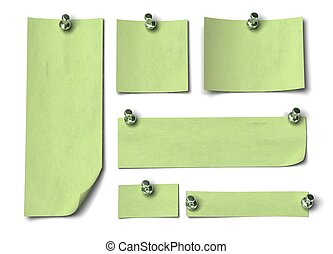 Set of green notes with different sizes, large, long. fixed by a thumbtack onto a white wall