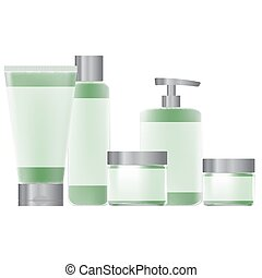 set of green packaging for cosmetic