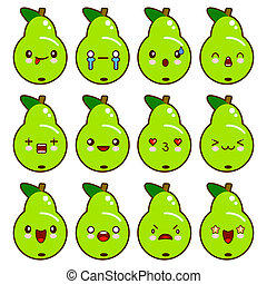 Set of green pear characters with different emotions. illustration isolated on white background. Cartoon style.