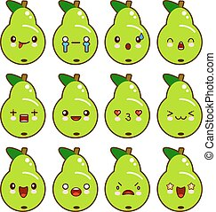 Set of green pear characters with different emotions. Vector illustration isolated on white background. Cartoon style.