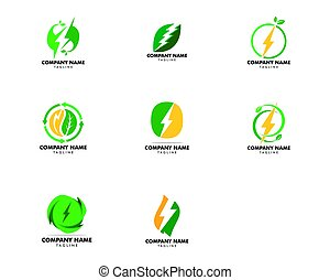 Set of Green Power Energy Logo Design Element