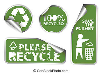 Set of green recycle labels - Set of green labels badges and...