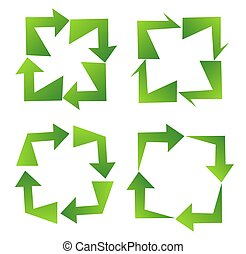 Set of green recycle sign