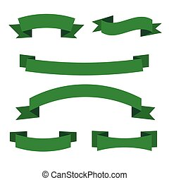 Set of green ribbon banners. Collection of eco scroll elements