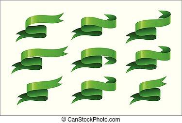 Set of green ribbon on white background