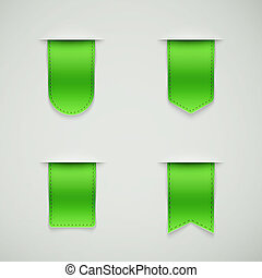 set of green ribbons different shapes