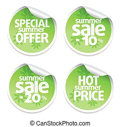 Set of green sale stickers