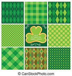 Set of green seamlesspatterns