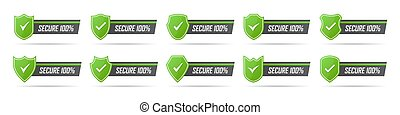 Set of green secure badge icons with shadow