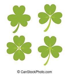 Set of Green Shamrock Symbols