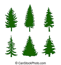 Set of Green Silhouettes of Pine Trees on White Background