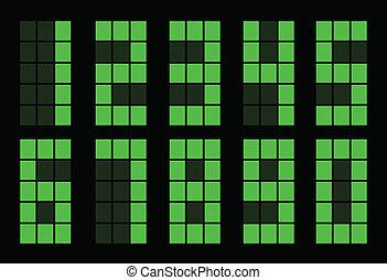 Set of green square digital number