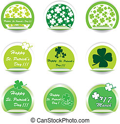 Set of green St. Patrick's Day stickers.