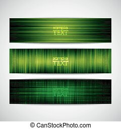 set of green striped banners