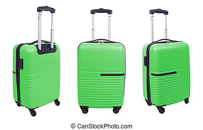 Set of green suitcase isolated on white background.