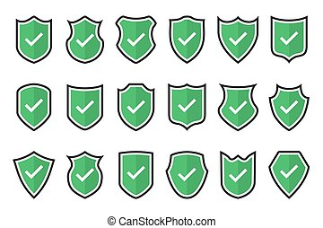 Set of green tick shield icons in a flat design
