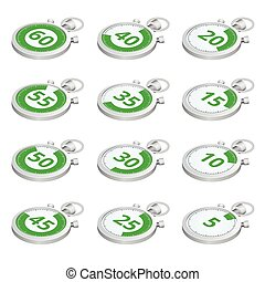 Set of green timers. Vector 3d isometric illustration. Sports stopwatch.