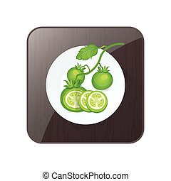 Set of Green Tomato 3D Icon and button