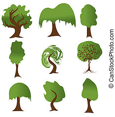 Set of green tree silhouettes for ecology design. Vector version also available