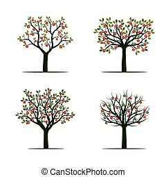 Set of Green Tree with red Apples. Vector Illustration.