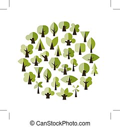 Set of green trees for your design