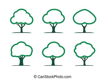Set of Green Trees Icon. Vector Illustration.