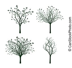 Set of Green Trees. Vector Illustration.