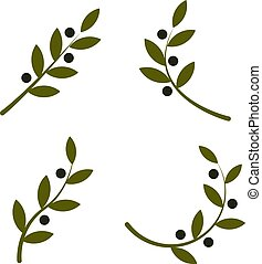 Set of green vector olive branch logo. Olive oil sign. Symbol of peace. Greek religious sign. Mythological icon. Healthy products label. Organic cosmetics. Eco food. Natural element. Agricultural item