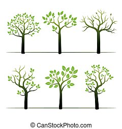 Set of green vector trees