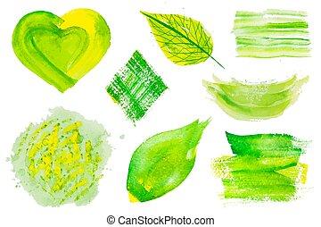 Set of green vector watercolor design elements