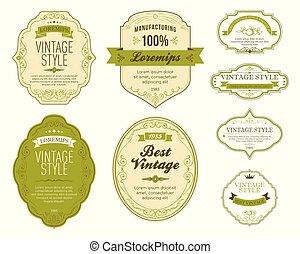 Set of green vintage labels