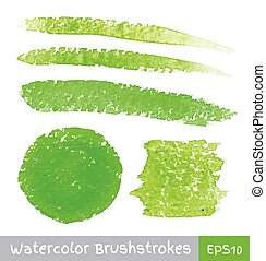 Set of Green Watercolor Brush Strokes
