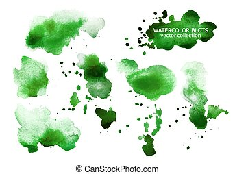 Set of green watercolor spots isolated on white background.