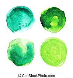 Set of green watercolour stains.