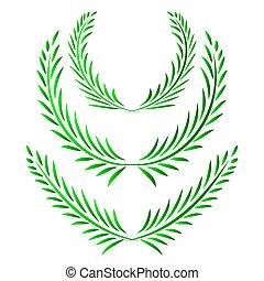Set of green Wreath. Vector illustration.
