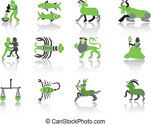 Set of green zodiac icons Vector Illustration.