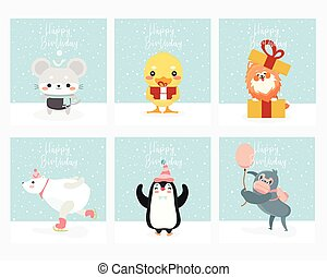 Set of Greeting card with animals