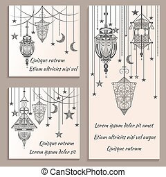 Set of greeting cards ethnic ornament in vintage retro style lanterns