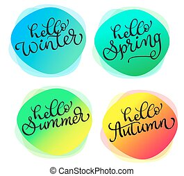 Set of greeting cards For all seasons Hello summer spring autumn winter. Cards with watercolor round texture