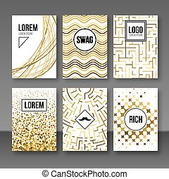 Set of greeting cards, gift tags, certificate. Golden banners postcards shapes