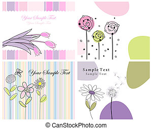 Set of four greeting cards for design use