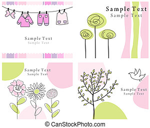 Set of four vector greeting cards for design use