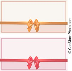 Set of greeting cards with bows